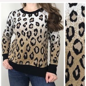 ANN TAYLOR Animal Leopard Print Knit Sweater Med